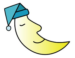 Dessin : croissant de lune qui est un visage dormant et souriant, portant un bonnet de nuit.