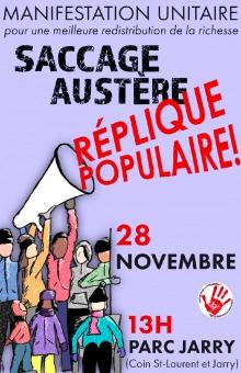 Affiche - Dessin: un cône porte-voix géant est levé par une une dizaine de personnes. Saccage austère - Réplique populaire !