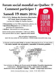 Affiche présentant les info dans l'annonce : FSM en grandes lettres longues sur une bulle de paroles rosée. Une carte du monde mais composée de mots de divers langues dont notamment Occupy, OpenSpace, Solidarity, etc.
