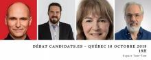 Affichette sur fond blanc avec les quatre portraits des candidatures.