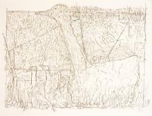 Peinture : des centaines de traits de crayons brun-beige. On distingue une oie.