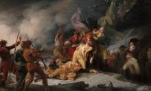 Peinture ancienne symbolisant, pratiquement face à face, des guerriers vers 1775 en conflit. Plusieurs sont en habits autochtones, d'autres l'uniforme de leur État. Au milieu, en évidence, un général est blessé mortellement et tenu par un confrère.