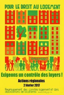 Affiche sur fond jaune : dessin rudimentaires de bâtiments carrés tantôt rouge et vert et, dessous, dessin de petits bonhommes manifestants. Pour le droit au logement, exigeons un contrôle des loyers !