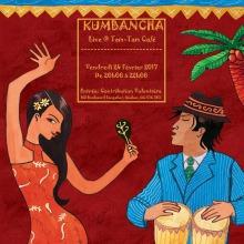 Affiche sur fond rouge vin : dessin d'une femme en robe rouge dansant et d'un homme en bleu jouant du tam tam. Il porte un chapeau brun foncé et son visage semble asiatique ou latino. Palmier derrière.