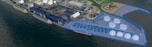 Photo aérienne et modifiée du Port de Québec.  De nombreux silos pour stocker pétrole et minerai sont ajoutés sur la pointe du port.