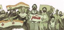 Dessin sur ton de gris-brun : foule d'hommes et femmes arabes manifestant, tenant des drapeux, pancartes, etc.