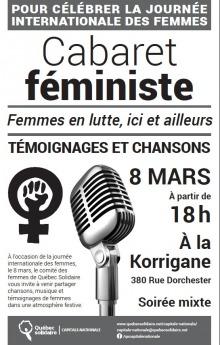 Affiche sur fond blanc : photo d'un micro d'ancien genre. Symbole de la femme, mais un poing au centre. Logo de QS.