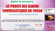 Affichette sur fond rose-mauve : Au profit des radios communautaires du Congo et en appui à l'éducation des femmes.