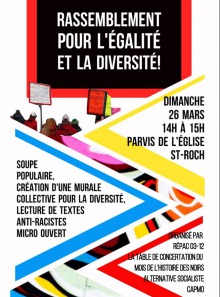 Affiche : ligne multicolore en zig-zag jaune, rouge, bleu, violet, etc. Des gens avec des pancartes. Soupe populaire - Création