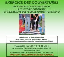 Affiche sur fond vert lime : photo de gens marchant sur des couvertures sur le sol. Info transcrites dans l'annonce ici.