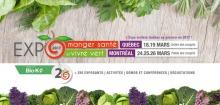 Affichette sur fond de légumes et de bois pâle : 18 et 19 mars à Québec. 24 au 26 mars à Montréal.