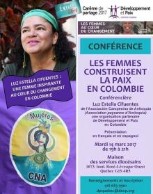 Affiche sur fond mauve : photo de Luz Estella Cifuentes au regard souriant, portant un bandeau turquoise. Logo du Centre femmes de Portneuf et de Développement et Paix. Les détails sont transcrits dans l'annonce.