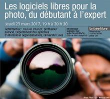Affiche : une personne vise une lentille de caméra photo vers vous. Reflet vert de paysage sur la lentille.