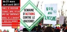 Affichette : le titre dans un cadre vert. Foule manifestante, pancarte « Non au racisme ».