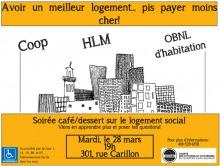 Affiche : dessin d'immeubles de bas étages et de haut étages. Coop - HLM - OBNL d'habitation.
