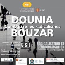 Affiche sur fond d'une infographie de personnes marchant au loin sur une rue quadrillée de carrés. Les gens sont des ombres noires. Logos de ministères canadiens et québécois de Sécurité et de Défense.
