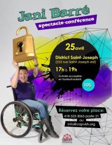 Affiche sur fond d'une explosion de couleurs mauve, jaune et turquoise. Jani, en chaise roulante, tient au-dessus d'elle un cadenas géant d'oré.