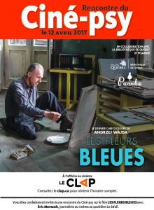 Affiche : photo d'un artiste, qui semble avoir environ 60 ans, qui peint un tableau assis sur le sol de son atelier. L'affiche mentionne la collaboration de Picardie.