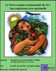 Affiche sur fond vert pomme : peinture d'une femme à la peau bazannée tenant divers légumes et plants, entourée de montagnes et forêts ; un grand oiseau noir survole ; soleil jaune en haut à gauche.