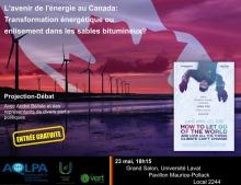 Affiche : photo d'un lac mauve ; une dizaine d'éoliennes au long ; drapeau géant du Canada couvrant le ciel ; mini-affiche du film sur laquelle on voit le réalisateur, en vêtement hivernaux, la tête vers le bas et les mains levés.