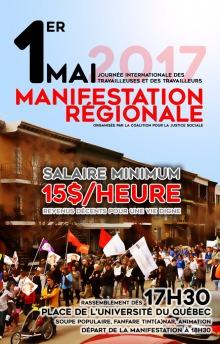 Affiche : photo couleur d'une manifestation sur la 1ère Avenue à Limoilou. Drapeaux, poussettes, etc. Salaire minimum 15 $ / heure : revenus décents pour une vie digne