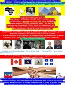 Affiche mulitcolore : petits portraits de Gandhi, Mandela, Luther King, M. Ali, Allmand et Commanda. Logo : continent africain noir, fleur de lys blanche. Drapeaux du Canada, de la Ville et du Québec. D'autres logo plus petits : AHA et AÉAUL.