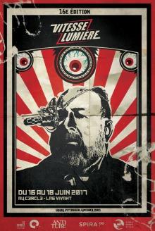Affiche de style communiste, avec des rayons rouges derrière un homme barbu portant un appareil étrange sur un oeil.
