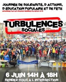 Affiche : foule dense et colorée sous la pluie au Québec. Journée de solidarité, d'actions, d'éducation populaire et de fête.