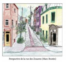 Dessin de Marc Boutin de la rue Des Zouaves avec plus de verdure et un fond de pierres imbriquées (plutôt que de l'asphalte).