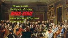Affichette sur fond d'une peinture d'une assemblée ancienne où les hommes et les femmes semblent aristocratiques à en juger par leurs vêtements (image probablement choisie par sarcasme).
