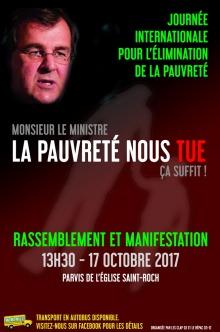 Affiche sur fond brun sombre : au hait, dans l'ombre, le visage du ministre Blais. « Monsieur le ministre, la pauvreté nous tue, ça suffit !