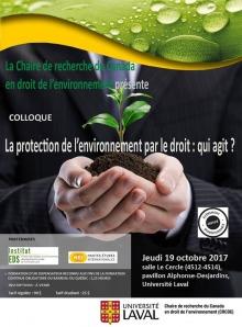 Affiche : deux mains tiennent un petit tar de terre avec une plante. La personne porte une veston avec cravatte. Logo : Institut EDS ; HEI ; Univ. Laval ; certifié écoresponsable.