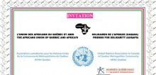 Partie supérieure (tronquée) de l'affiche : logo de l'UAQASA, soit continent africain en noir et fleur de lys blanche. Logo de l'ONU avec le nom Canada au-dessus. Logo passé des JQSI qui ressemble à un bonhomme allumette en mouvement dans un cercle orange.