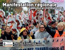 Affiche : photo du devant de la manif colorée et dynamique de lundi dernier. « Manifestation régionale d'appui aux grévistes des CPE ». Petit Logo de la CSN.