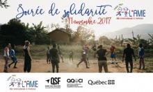 Affichette en carte postale : une dizaine de jeunes personnes, hommes africains et stagiaires (femmes/hommes) jouent au ballon en cercle. Logo de plusieurs organismes : AMIE, Québec sans frontières, AQOCI et Gouv. du Québec.