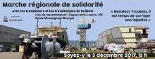 Bannière web sur fond d'une photo du port : machinerie, etc. « Monsieur Trudeau, il est temps de corriger une injustice » Logo de la CSN.