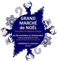 Affichette : un grand cercle bleu marin est entouré de cerfs, cannes de Noël, flocons de neige et boules de Noël. « Trouvailles et créations uniques ! »