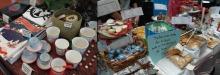 Deux photos de 2016 : 1) des tasses, livres etc. 2) des biscuits, chocolateries et pâtisseries pour financer un projet de solidarité au Népal.