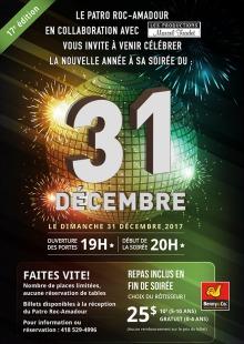 Affiche sur fond de nuit avec rayons de lumière vert : « 31 décembre » écrit en énormes lettres.