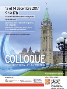 Affiche sur fond bleu ciel : photo de la tour de parlement canadien. Logo: la Chaire en question ; CAPP (Centre d'analyse des politiques publiques) ; British Academy ; Univ. Laval - Institut d'éthique appliquée.