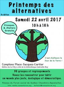 Affiche : dessin à la main d'un arbre brun à cinq branches en formes de flèches, sur fond de feuillage uni vert pastel.  Les détails sont transcrits dans l'annonce ici.