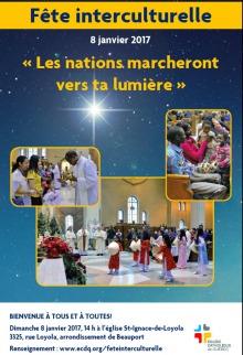 Affiche sur fond d'un ciel étoilé, bleu un peu marin : trois photos. une d'une prêtre offrant la messe devant de jeunes femmes ; une d'enfants africains à l'église ; une autre d'une animation théâtrale dans une église.