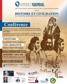 Affiche : dessin beige-brun d'hommes de styles anciens ou antiques. Logo du COPAQ et photos des députés (Québec, Canada) et de la Ville de Québec.