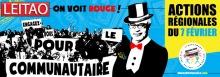 Bannière pour février 2018 : sur fond bleu, dessin du ministre Leitao, l'air arrogant avec un chapeau haute forme. Une foule portant le message « Engagez-vous pour le communautaire ».  Titre : « On voit rouge ! - Actions régionales du 7 février 2018 ».