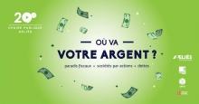 Affichette sur fond vert lime lumineux : dessins de billets d'argent qui volent autour du titre. Logos : AELIÉS, Impact Campus, CHYZ et Univ. Laval.