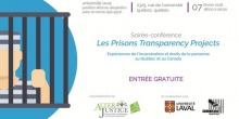 Affiche : dessin infographique simple d'une personne derrière des barreaux. Elle porte un habit de prisonier rayé gris et blanc. Logo: AlterJustice, Univ. Laval et Criminologie de l'Univ. Laval.