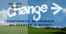 Affichette : grand ciel bleu, peu de nuages, sol vert propre de style terrain de golf. Le mot Change avec une flèche dessiné en motif de nuages.
