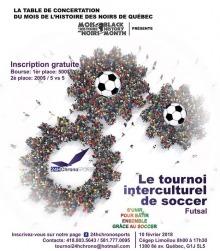 Affiche sur fond blanc : quatre formes de rouages mécaniques, mais en fait composées de photos de foules, ainsi que des ballons de soccer dessinés au milieu des foules.