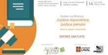 Affiche : dessin infographique d'un gros livre et d'un marteau de juge. Logo: AlterJustice, Univ. Laval et Criminologie de l'Univ. Laval.