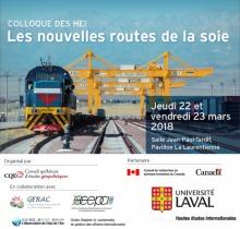 Affiche modifiée : voie de fer, un train vu de face, infrastructure métallique jaune. Logo : CQEG, GERAC, Observatoire de l'Asie de l'Est, CEPCII, Chaire Stephen-A-Jarlslowsky..., Canada, Univ. Laval.